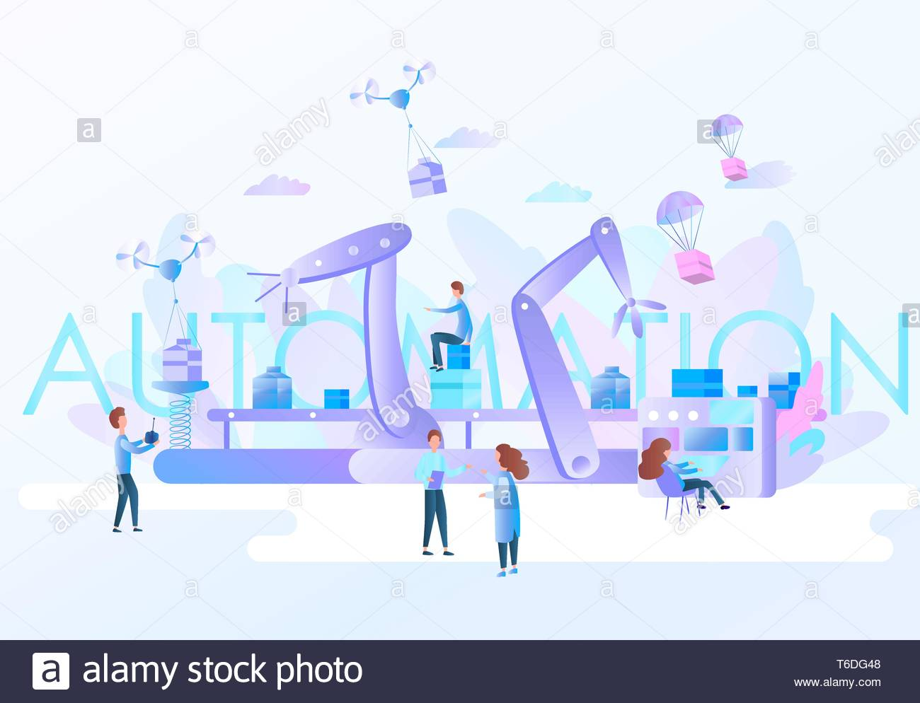 Robotic hands and conveyor belt, controlled by engineer. Factory automation, Industry 4.0. Physical systems. Flat vector concept Infographic - Stock Vector