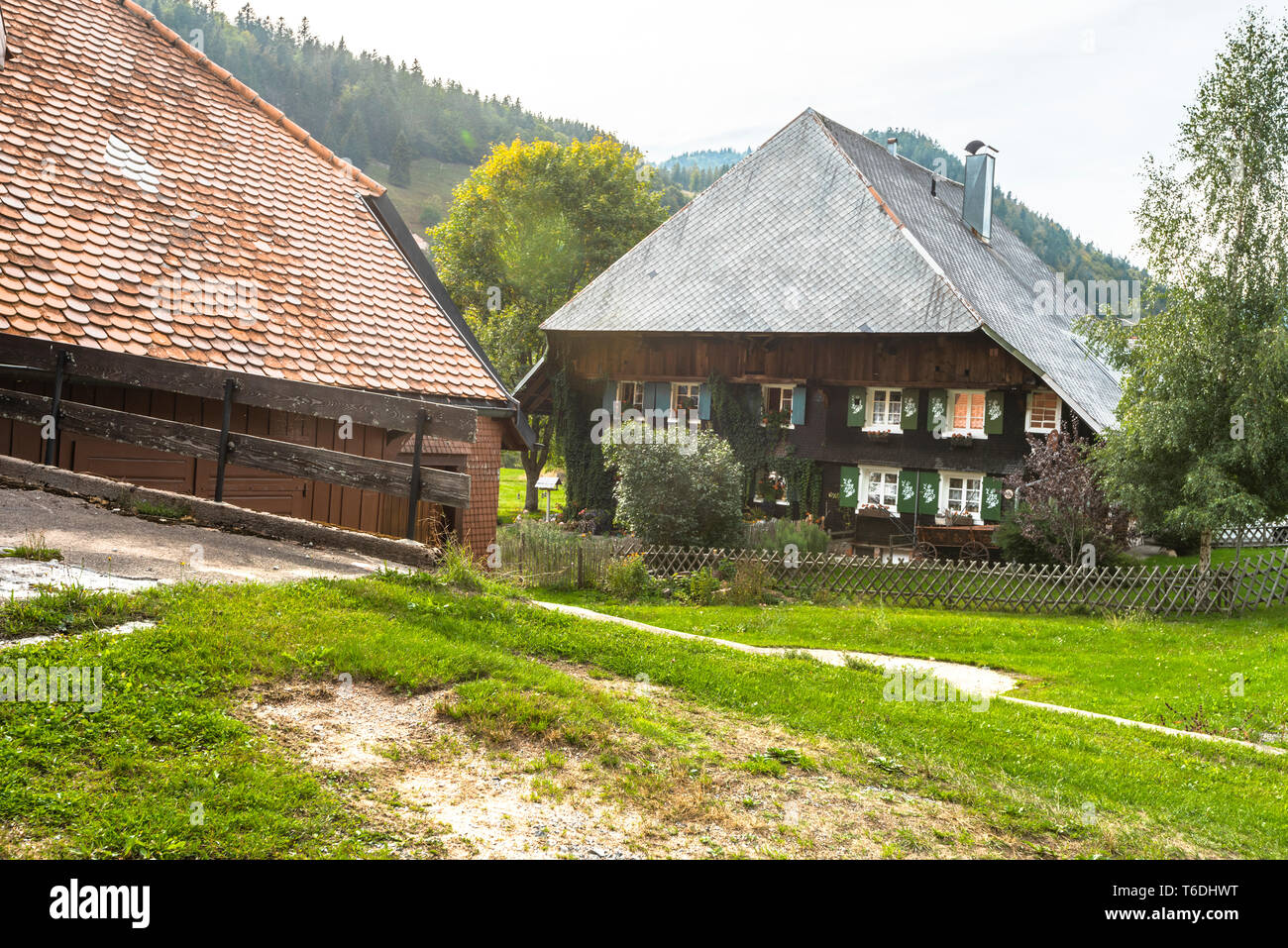 typical Black Forest house with hipped roof and landscape, village Menzenschwand, Germany, traditional architecture of the High Black Forest Stock Photo