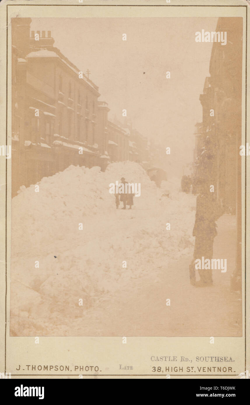 Victorian Cabinet Card of The Great Snow Storm in Castle Road, Southsea on January 18th 1881. - Stock Image