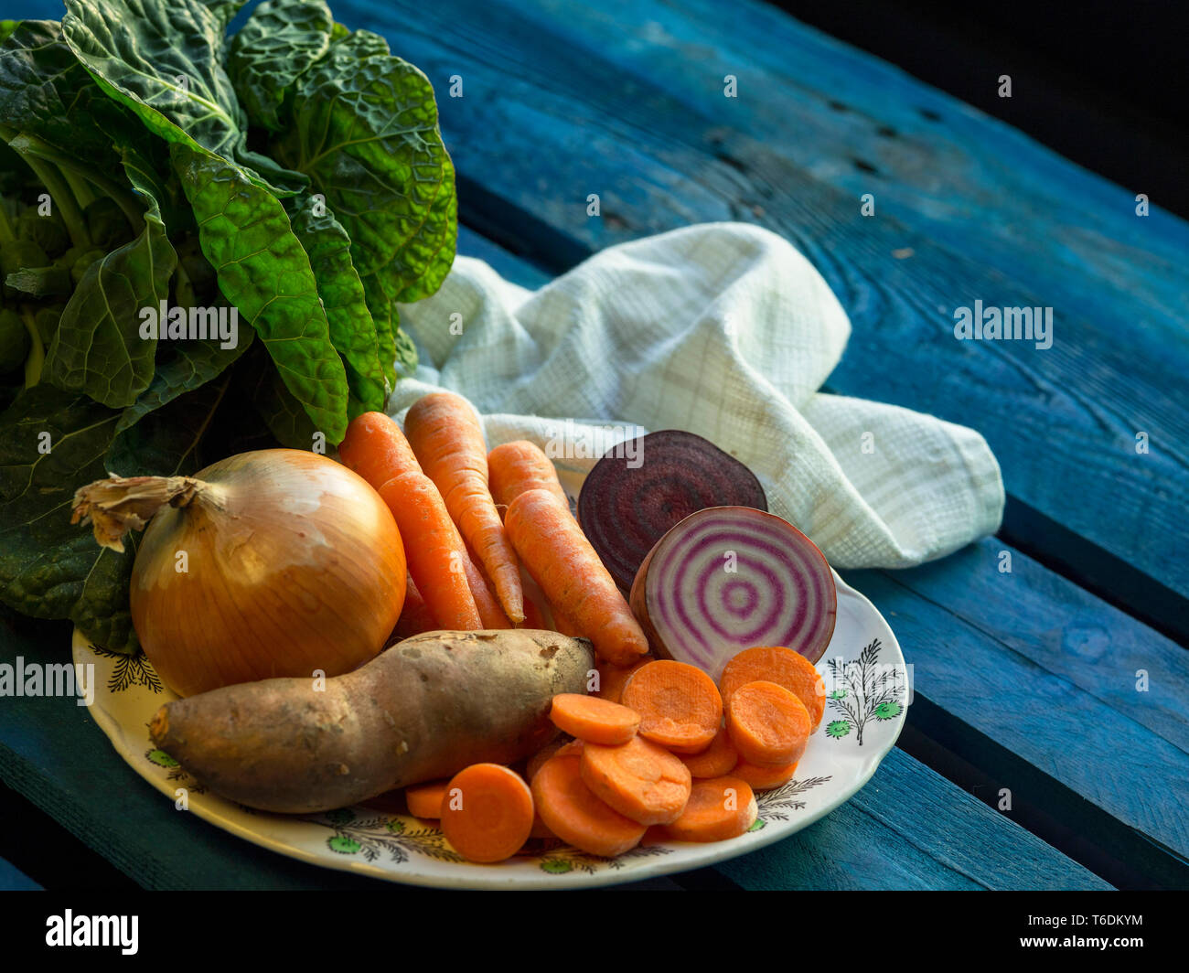 Rustic vegetables on a plate Stock Photo