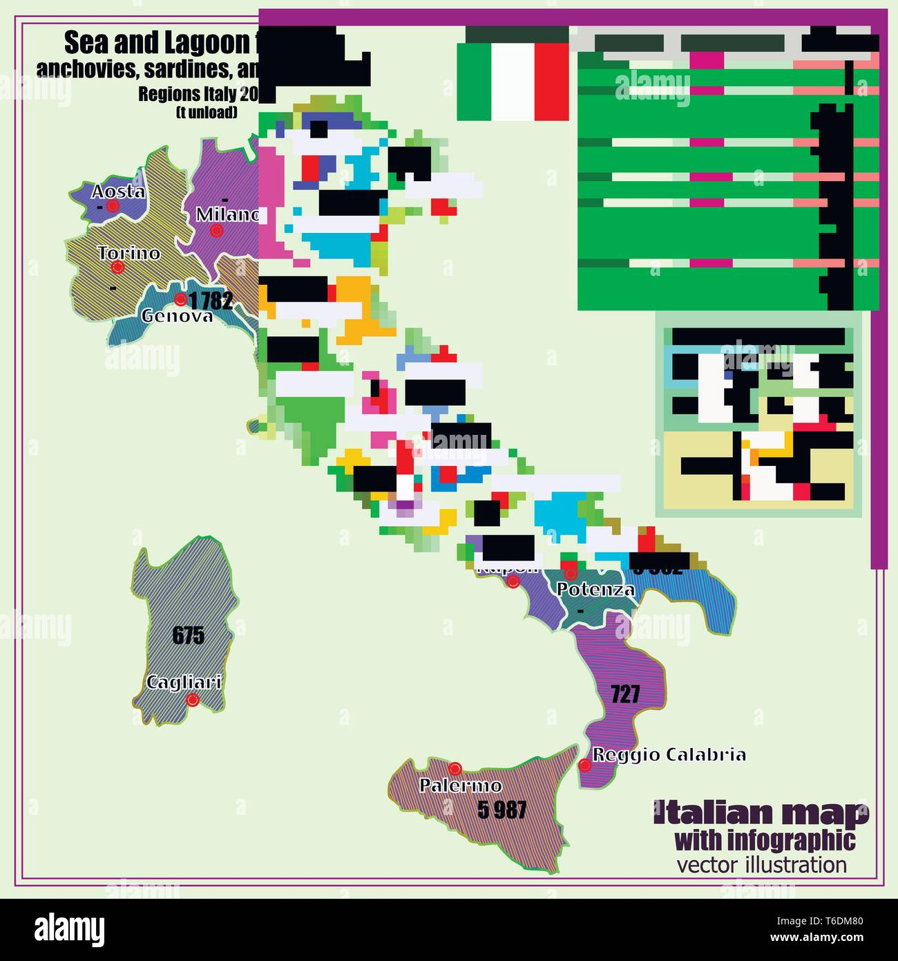 Regions Of Italy Map With Cities.Map Of Italy With Infographic Sea And Lagoon Fishing Italy Map With