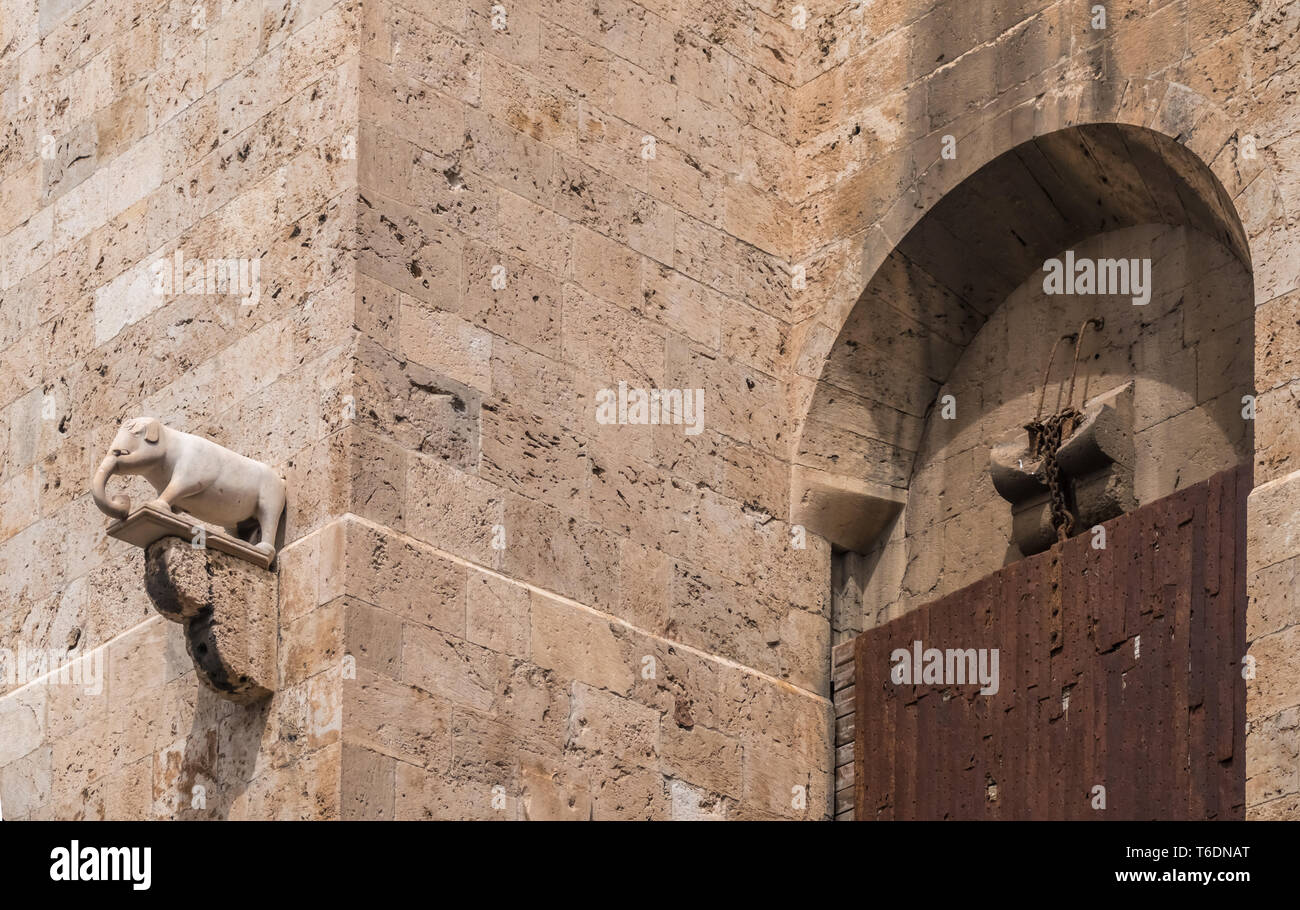 Torre dell'Elefante (Iower of the elephant)  a medieval tower in the Castello district of Cagliari, Sardinia, Italy. Built in the XIII century - Stock Image