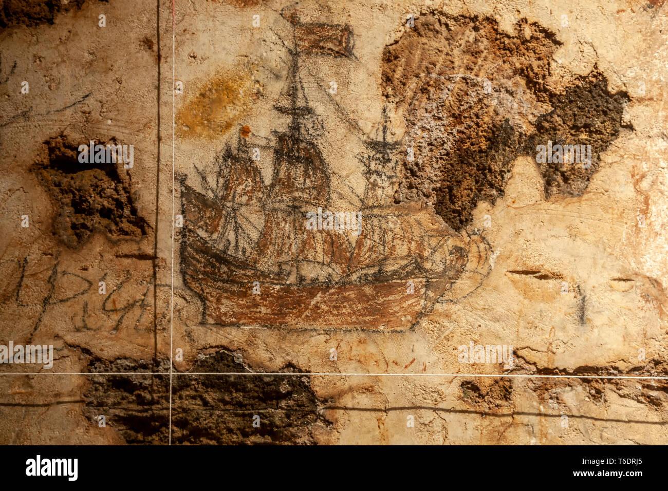 Graffiti depicting tall ship, dungeon, San Cristobal Castle, San Juan National Historic Site, Old San Juan, Puerto Rico - Stock Image