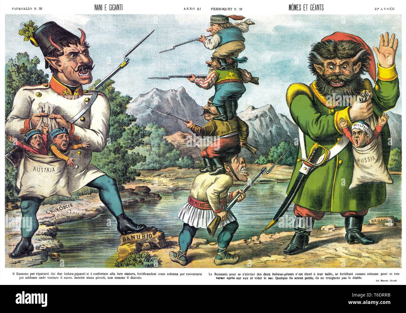 Dwarves and giants,  by satirical cartoon weekly Il Papagallo 1883 Stock Photo