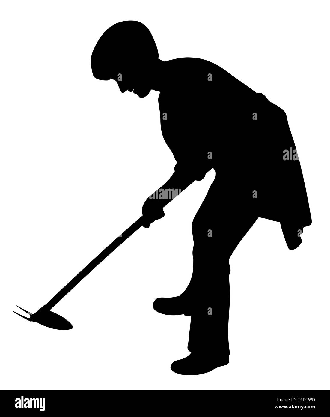 Woman working in the garden with weeding hoe Stock Vector