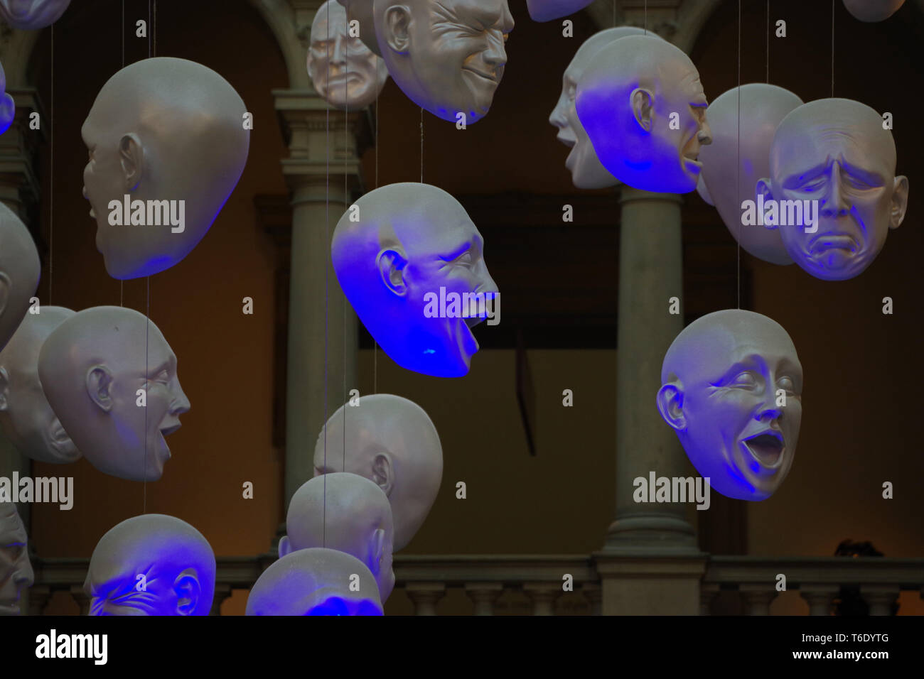 Hanging Heads. Sophie Cave was the creator of hanging heads installation at Kelvingrove Art Gallery and Museum. - Stock Image