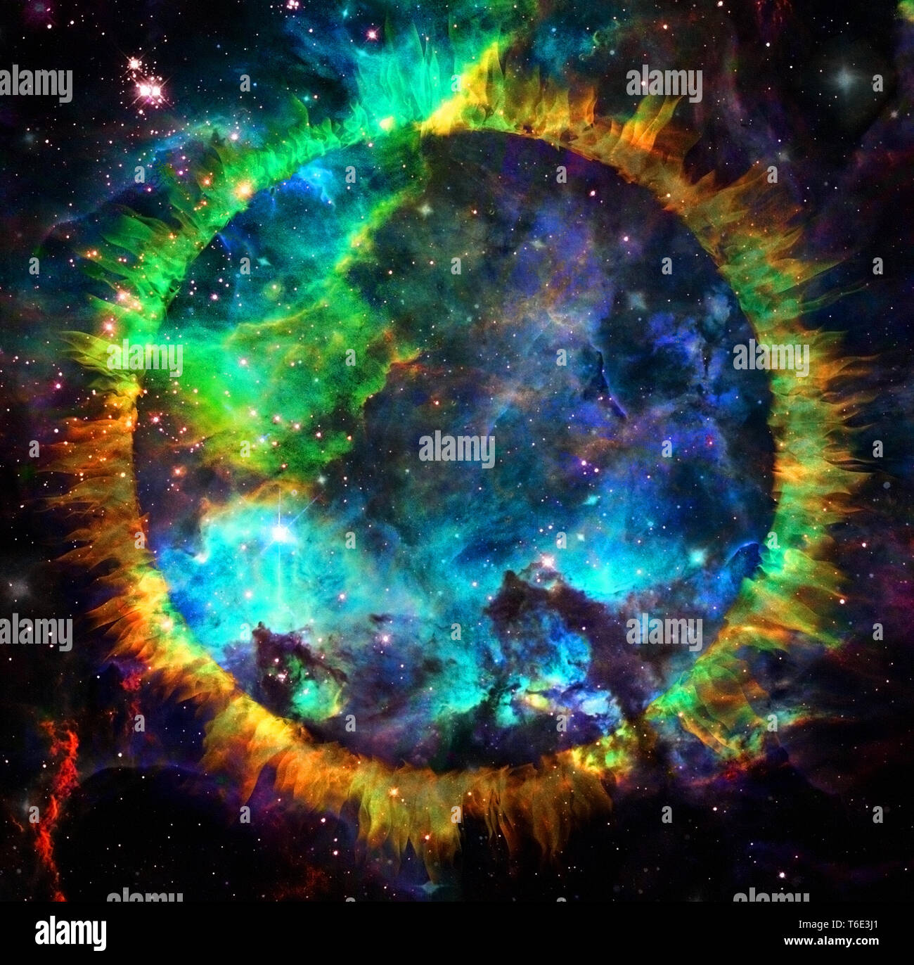 Circle of fire in vivid space - Stock Image