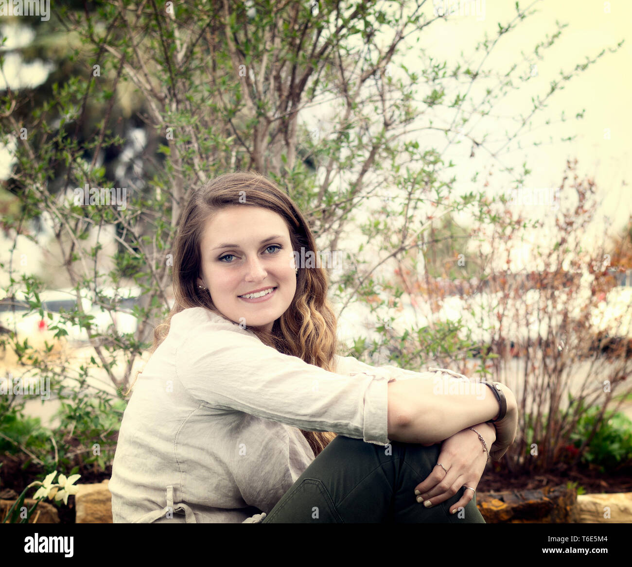 Beautiful Young Caucasian Woman Outdoor Shots in Nature - Stock Image
