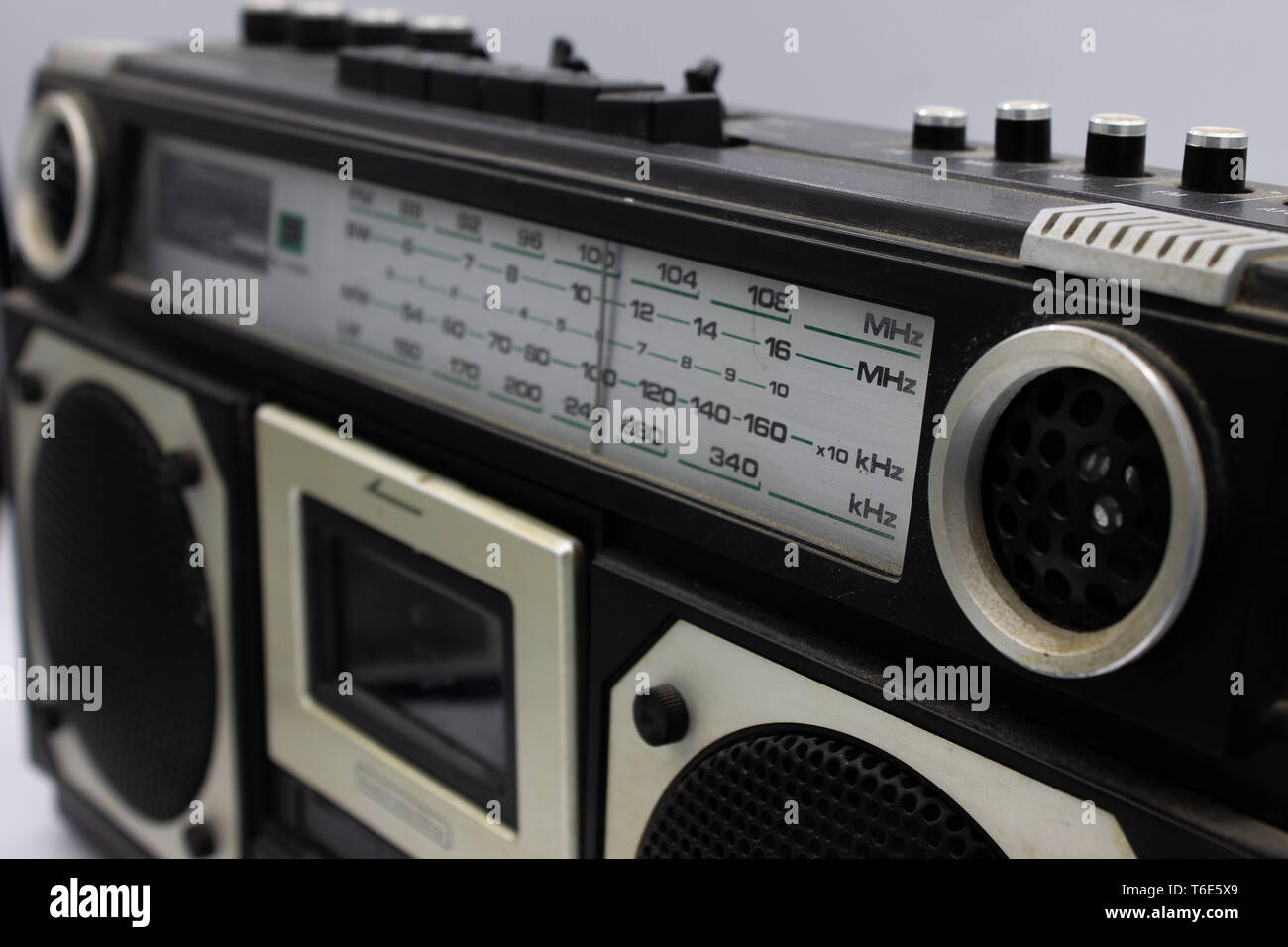 In the 70s and 80s the music was listened to through the cassettes, a magnetic storage device. The radios were very large, containing two speakers and Stock Photo