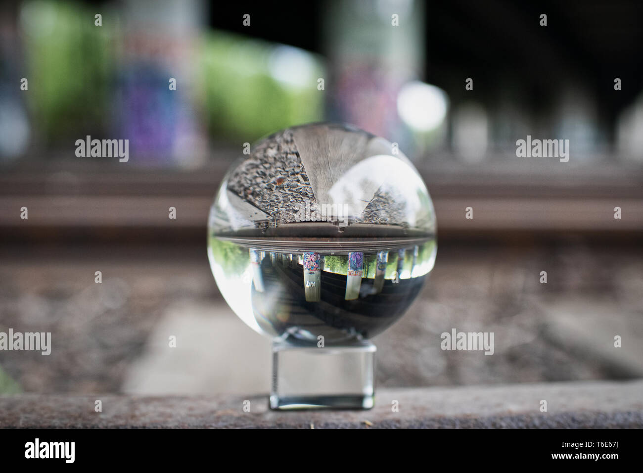 Lens ball photography old station - Stock Image