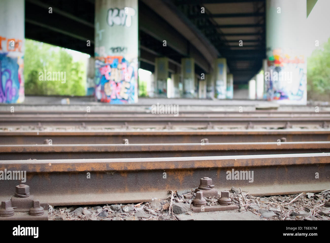 Old station, lost place in Dortmund, Germany - Stock Image