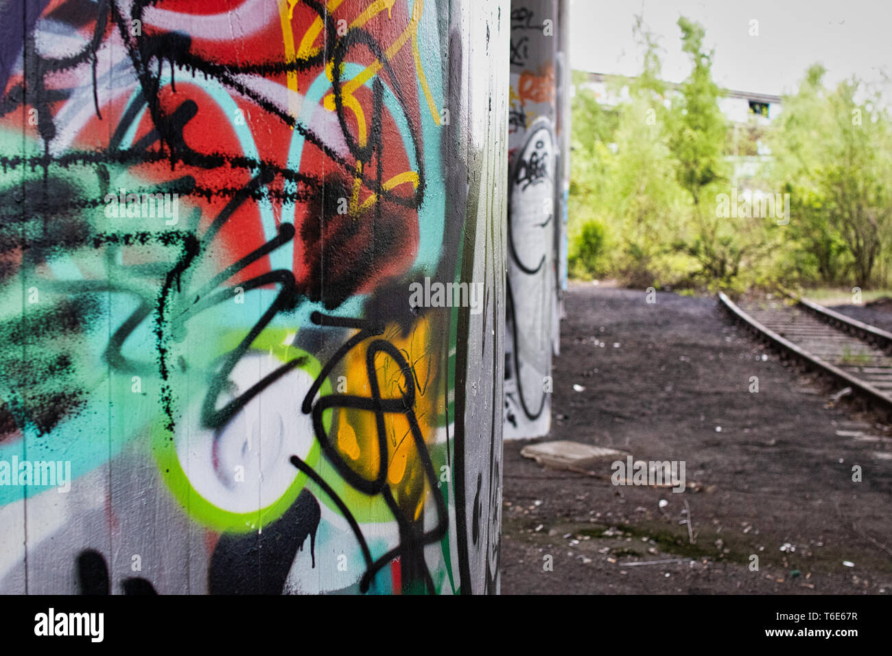 Graffiti wall at an old station in Dortmund, Germany - Stock Image