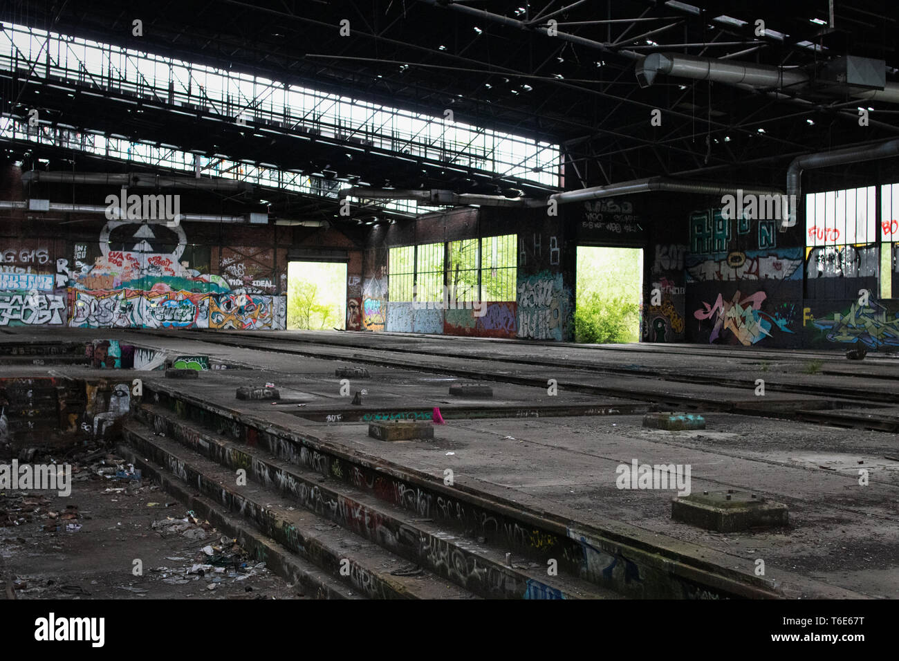 Old station, lost place in Dortmund (Germany) - Stock Image