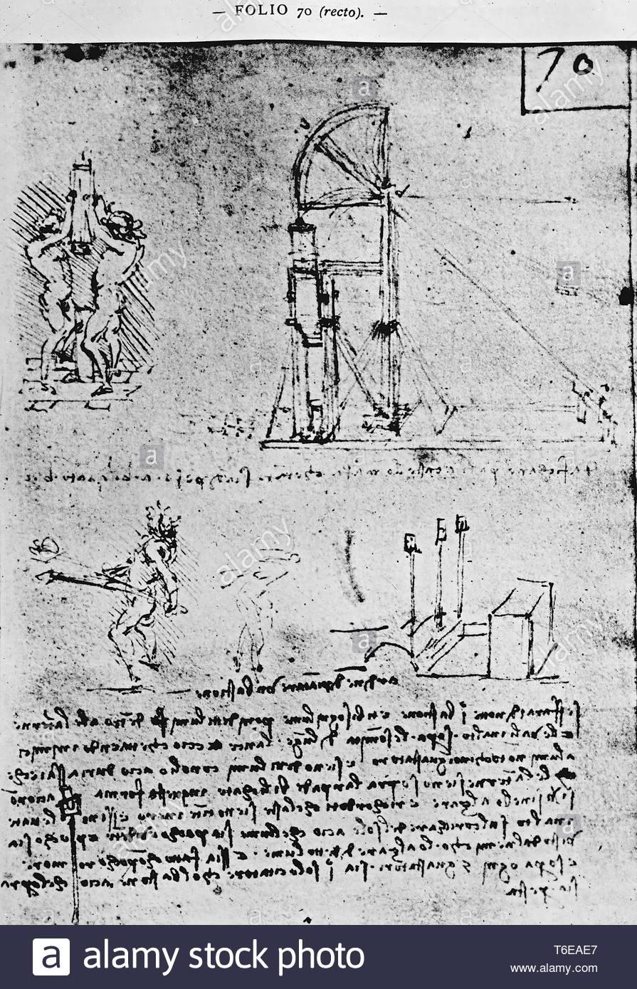 Leonardo da Vinci-Suggestions on how to construct a bastion at night, fol - Stock Image