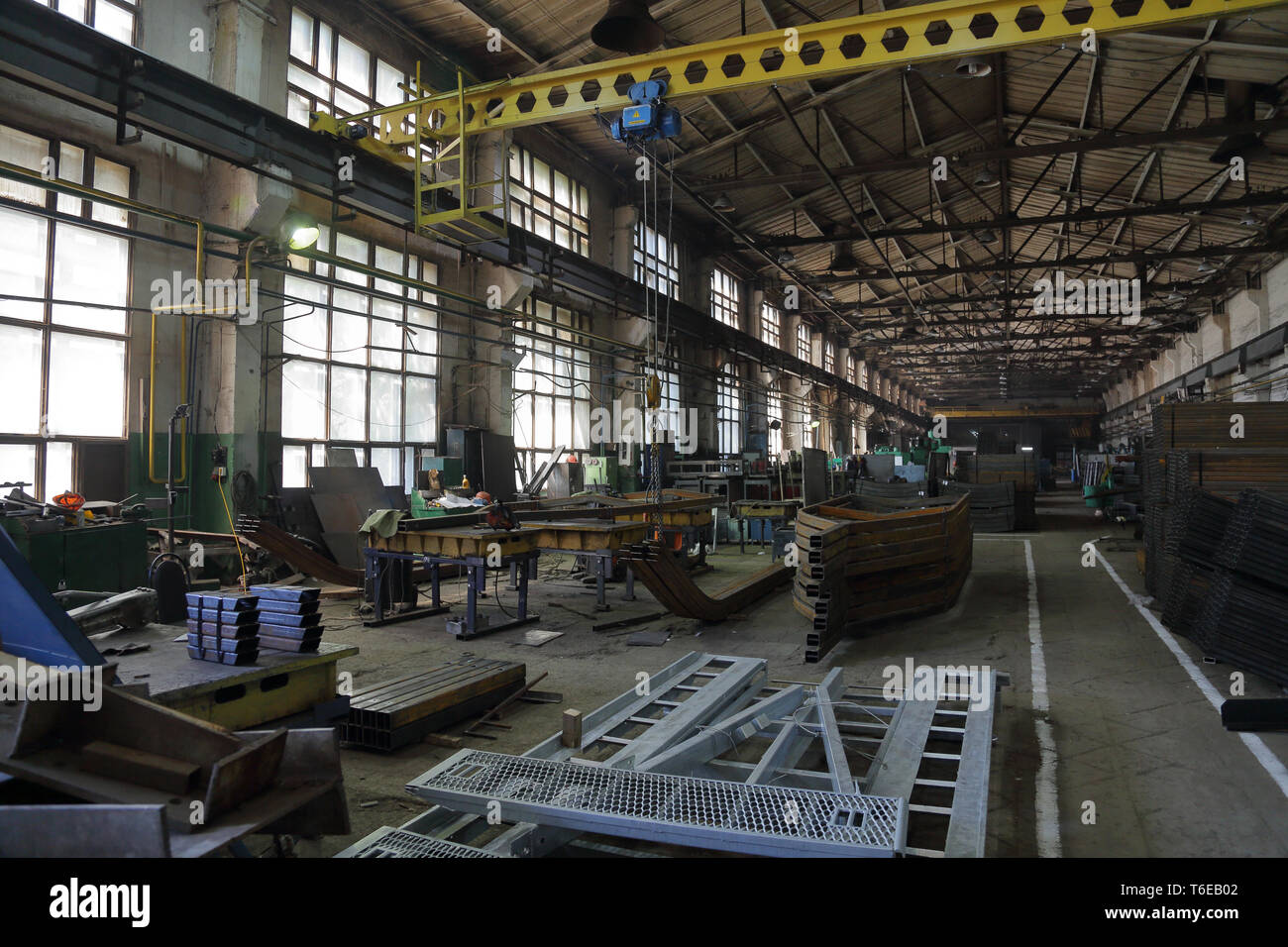 Large metalworking and tool-handling shop at the manufacturing plant - Stock Image