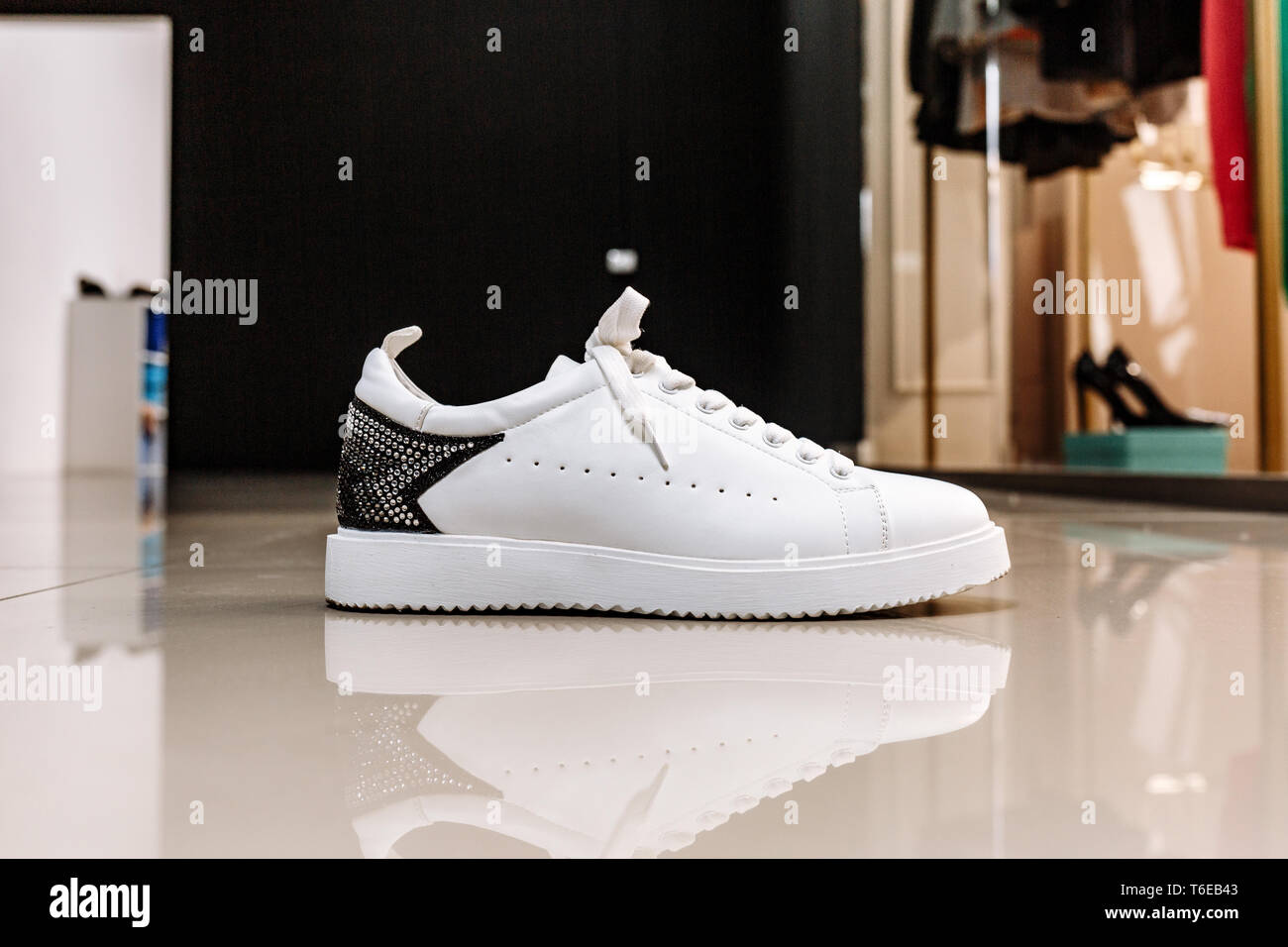separation shoes a7208 0745b stylish white sneaker with a star ornament made of rhinestones on the  backdrop on the light