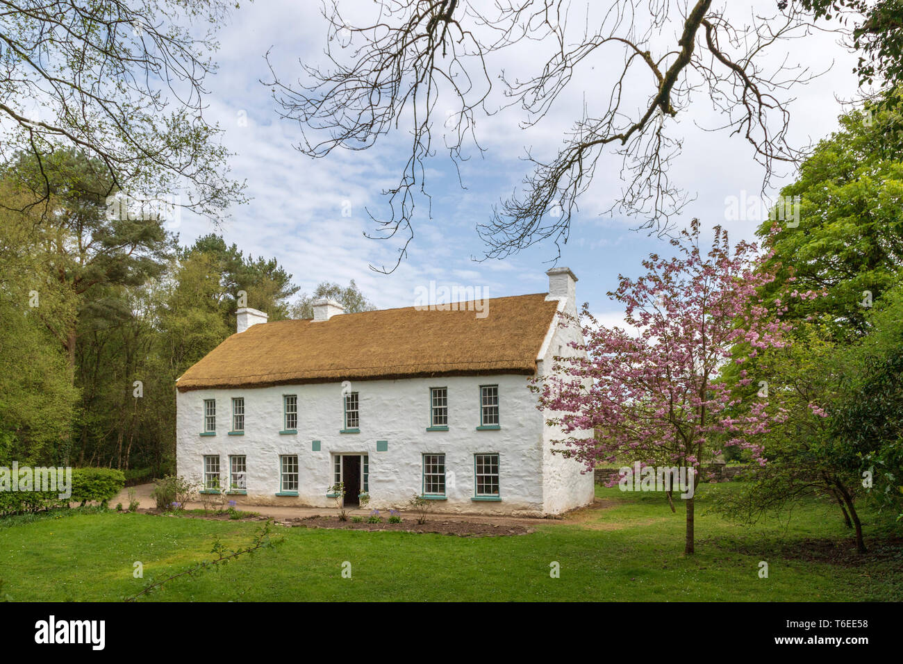 Aghalane House, the ancestral home of Hugh Campbell, reconstructed at the Ulster American Folk Park, Omagh, County Tyrone, Northern Ireland. - Stock Image