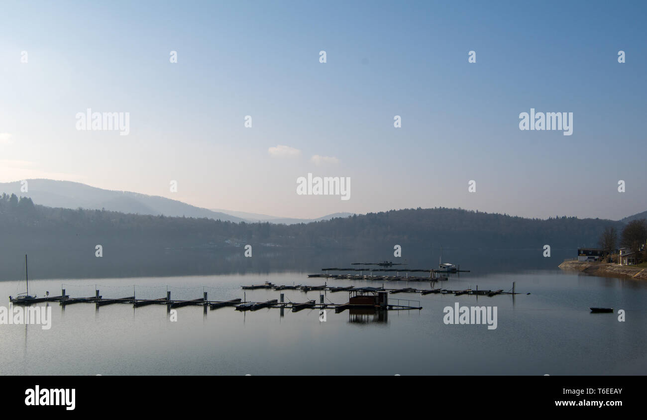 German lake called edersee with cloudless sky Stock Photo