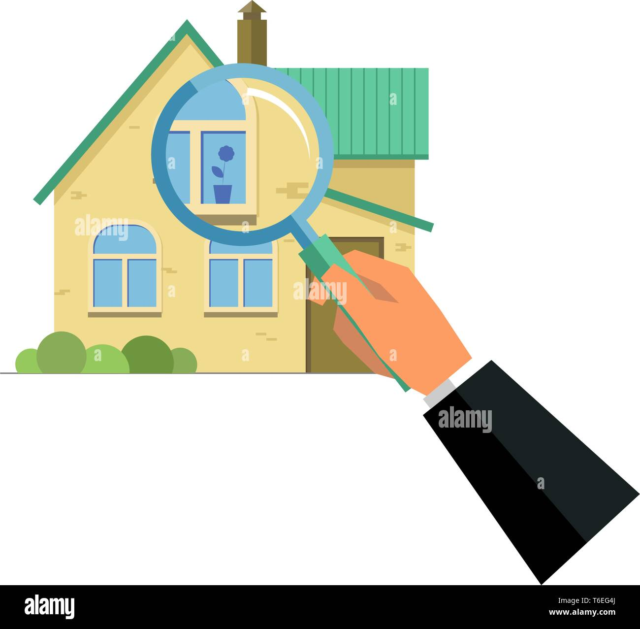 Human hand holding magnifying glass with house, home selection, property project, real estate being checked concept, flat style isolated illustration Stock Vector