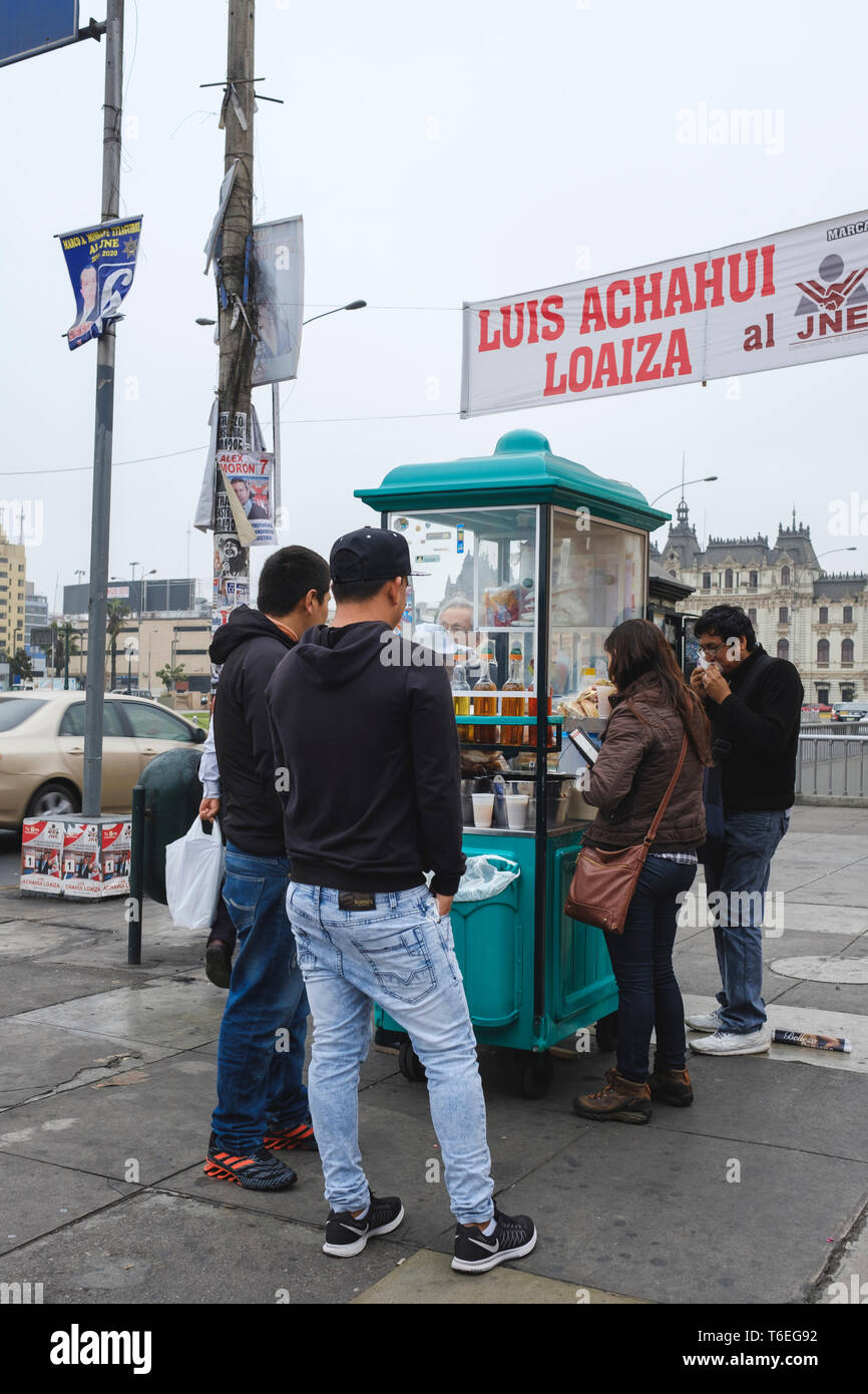 Food stand on the streets of Lima, Peru Stock Photo