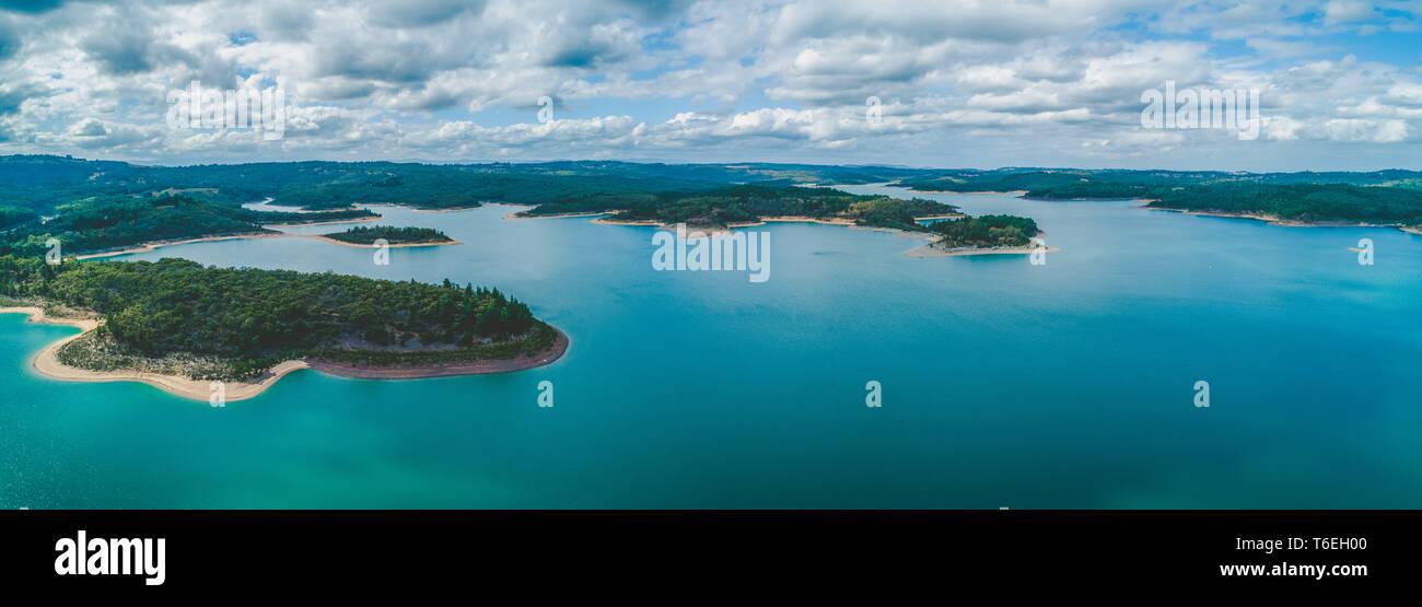 Wide aerial panorama of scenic lake in Victoria, Australia Stock Photo