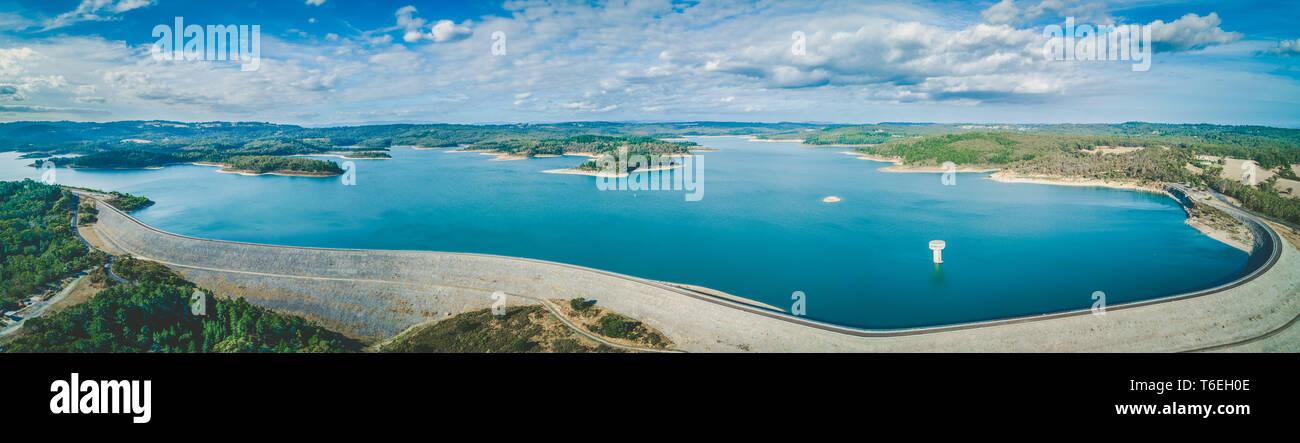 Cardinia Reservoir Lake - aerial panoramic landscape Stock Photo