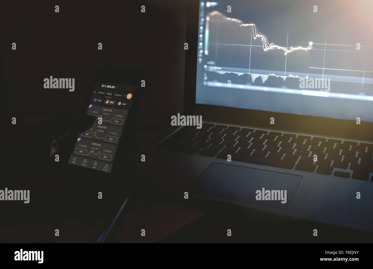 Vienna Austria April.26 2019, Day trader mobile devices. Forex day trader holding mobile phone looking at charts in front of computer screens in dark - Stock Image