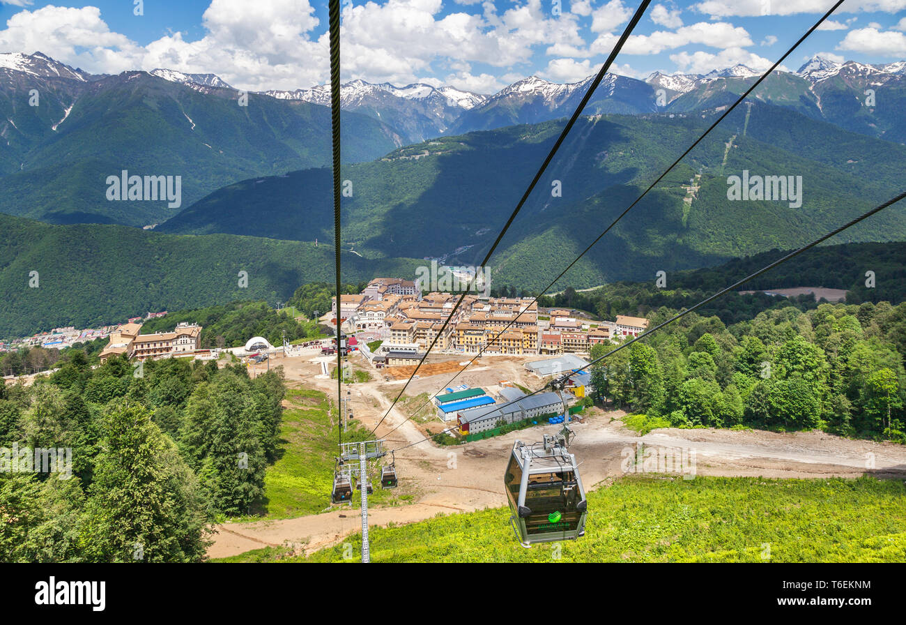 Cableway Rosa Khutor, Russia - Stock Image