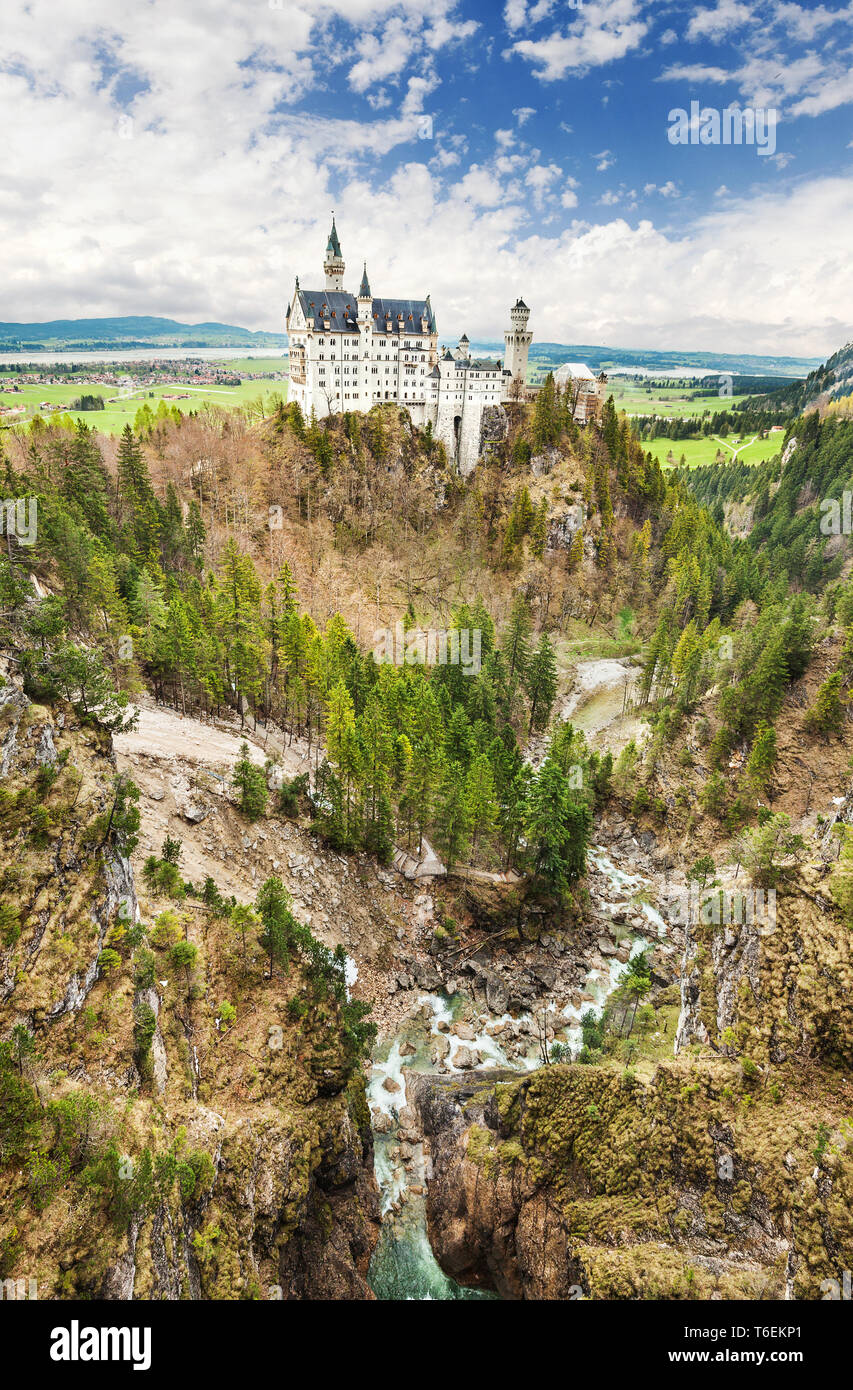 Neuschwanstein castle located in Schwangau, Germany. - Stock Image