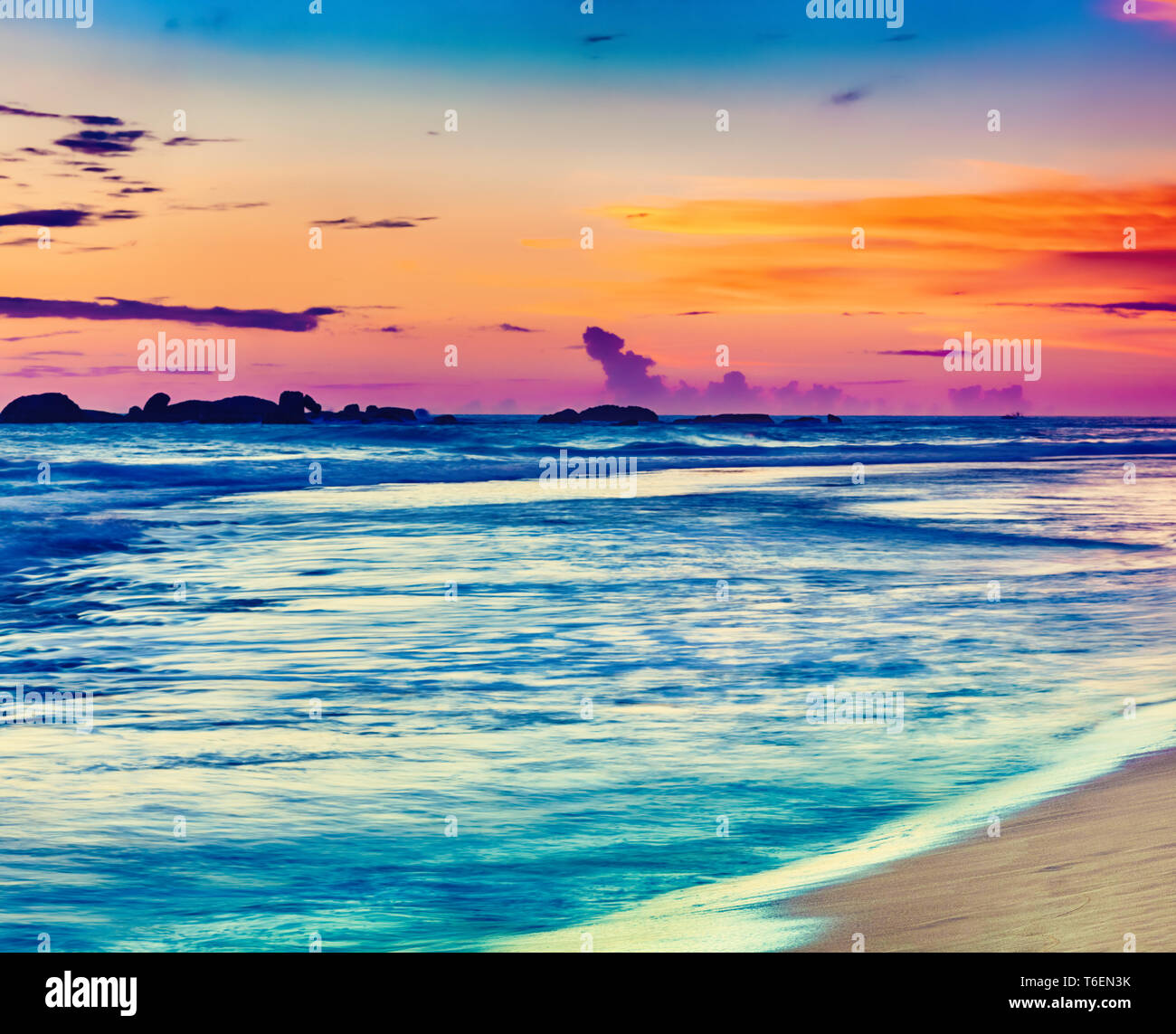 Sunset over the sea. Beautiful landscape Stock Photo