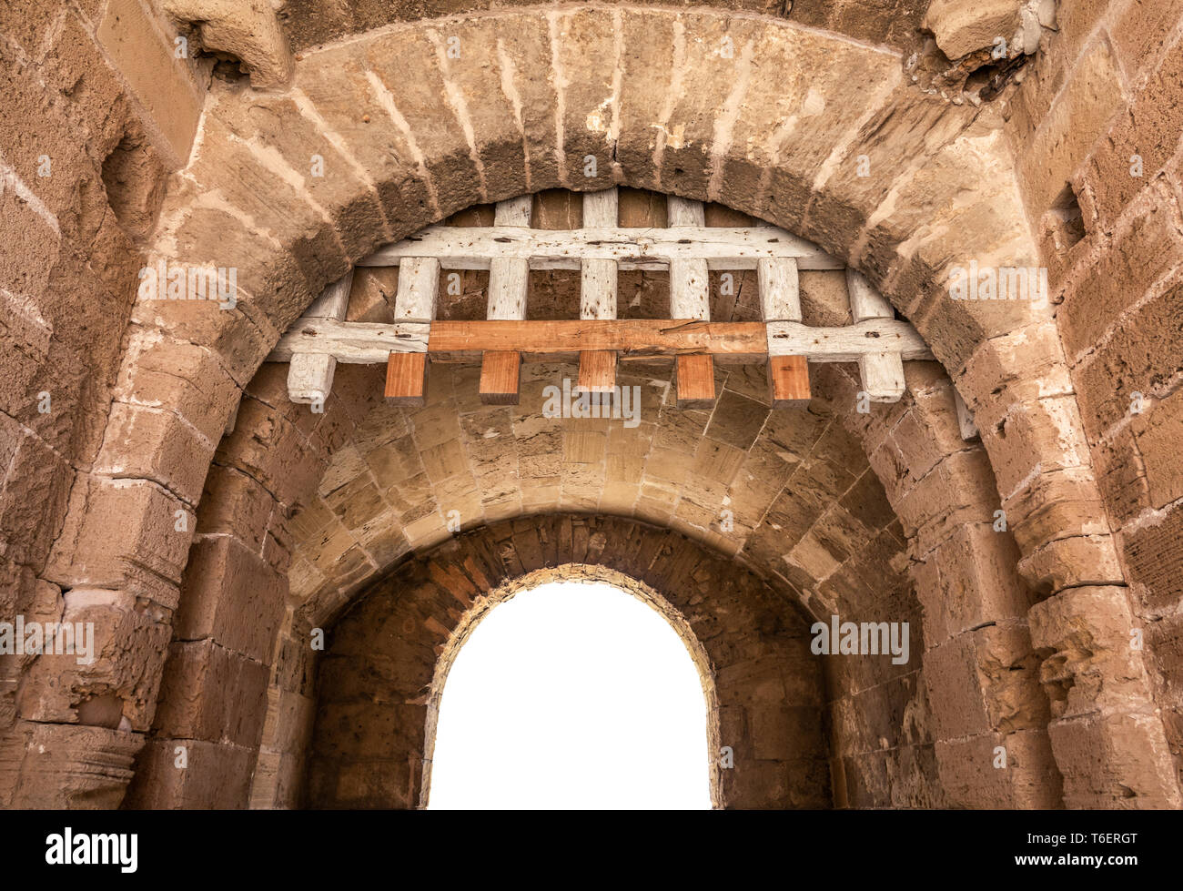 Isolated Fortress Archway With Portcullis - Stock Image