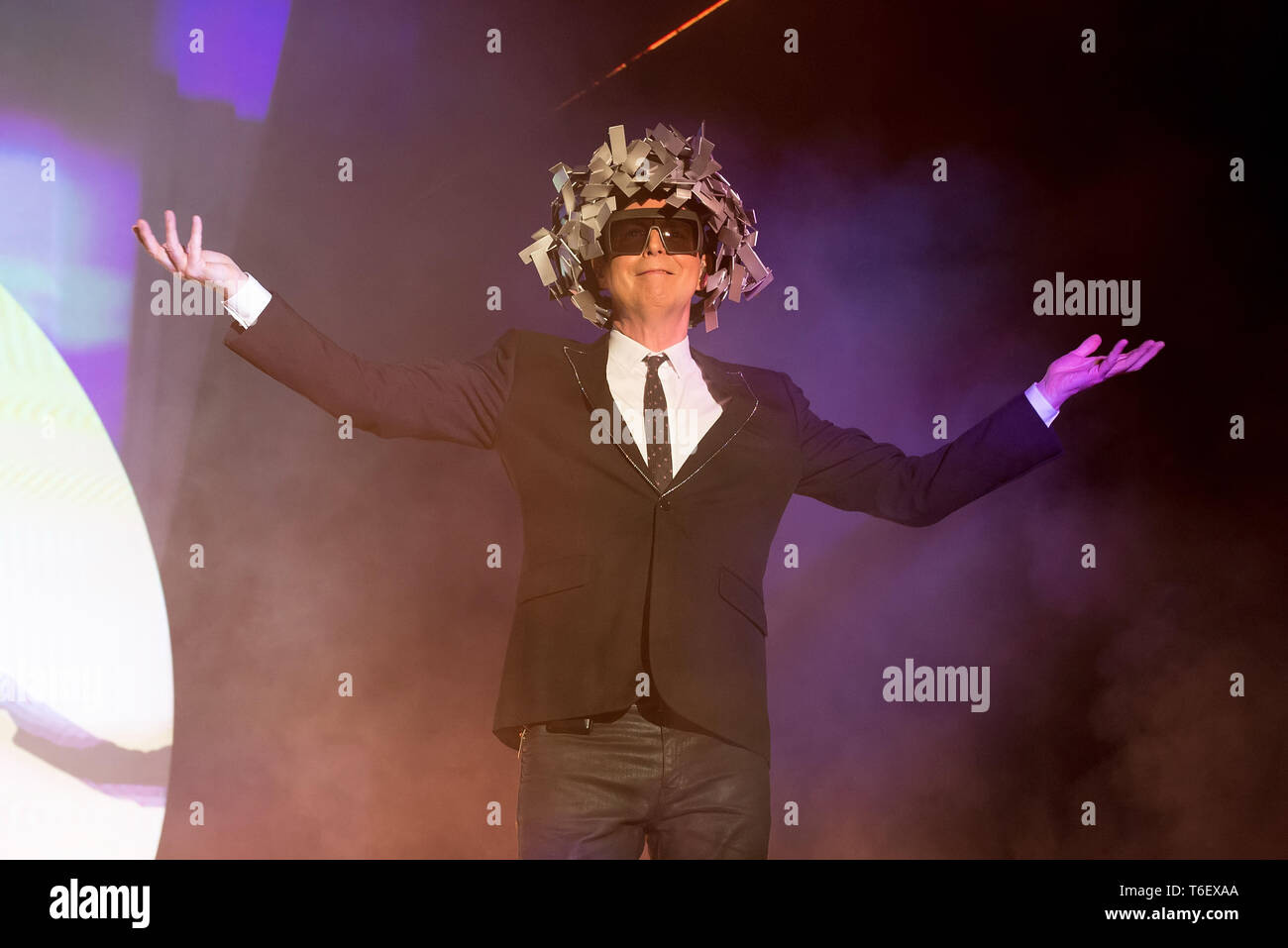 BENICASSIM, SPAIN - JUL 21: Pet Shop Boys (synthpop legendary band) perform in concert at FIB Festival on July 21, 2018 in Benicassim, Spain. - Stock Image