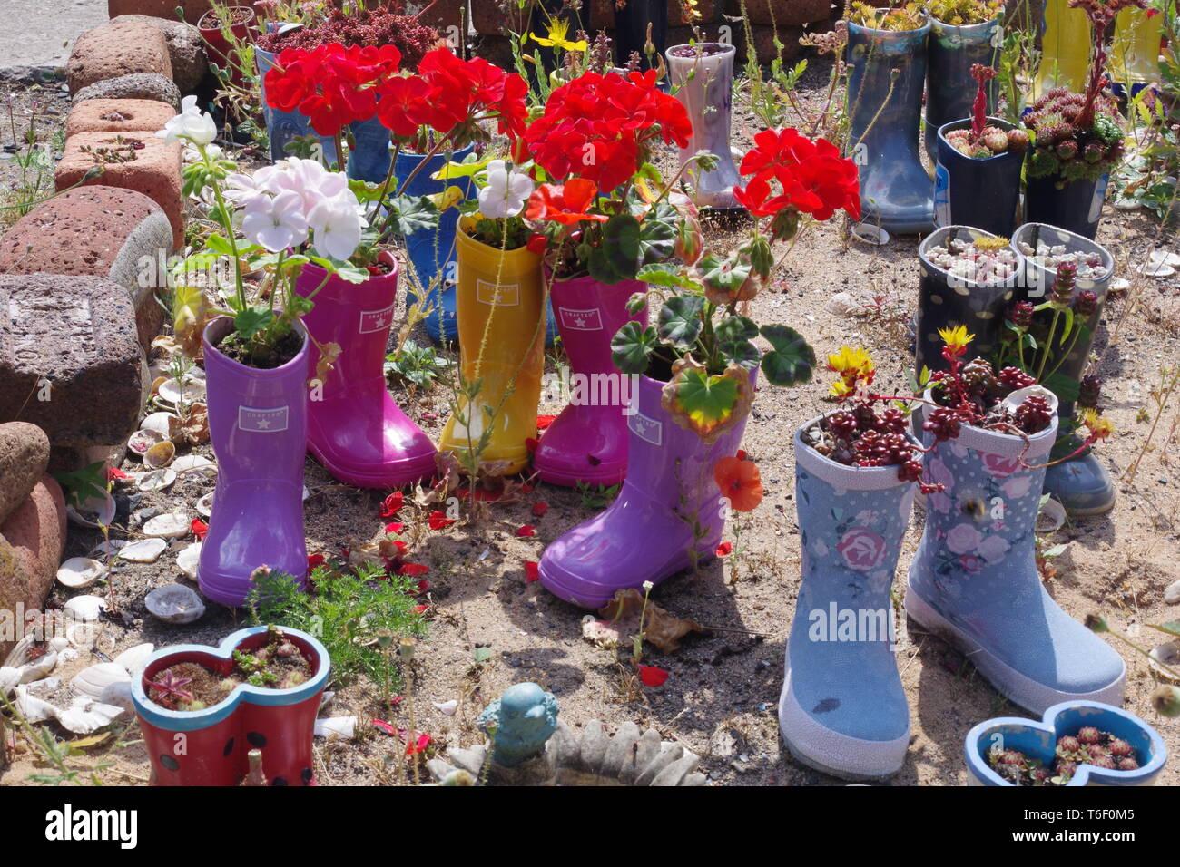 St Monans Welly Boot Garden. Fife, Scotland, UK. Stock Photo