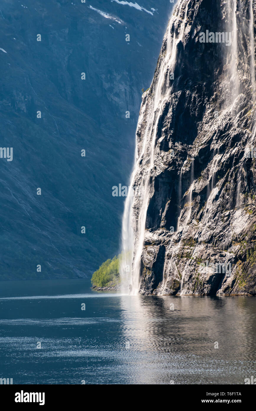 Norway - Geirangerfjord - The Bridal Veil Waterfall - Stock Image