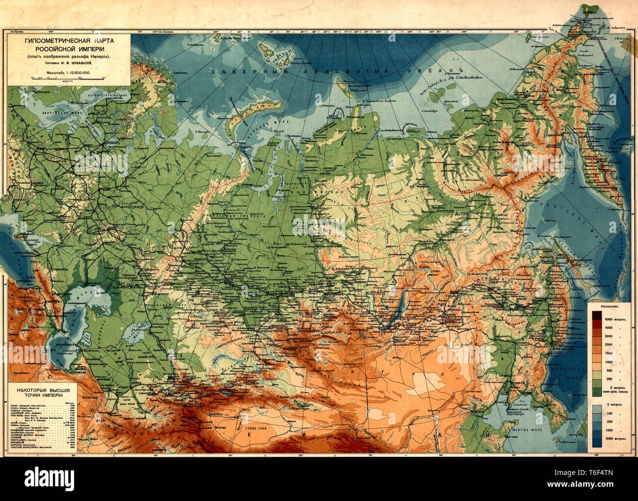 Railroad Maps in Russia, circa 1912 - Stock Image