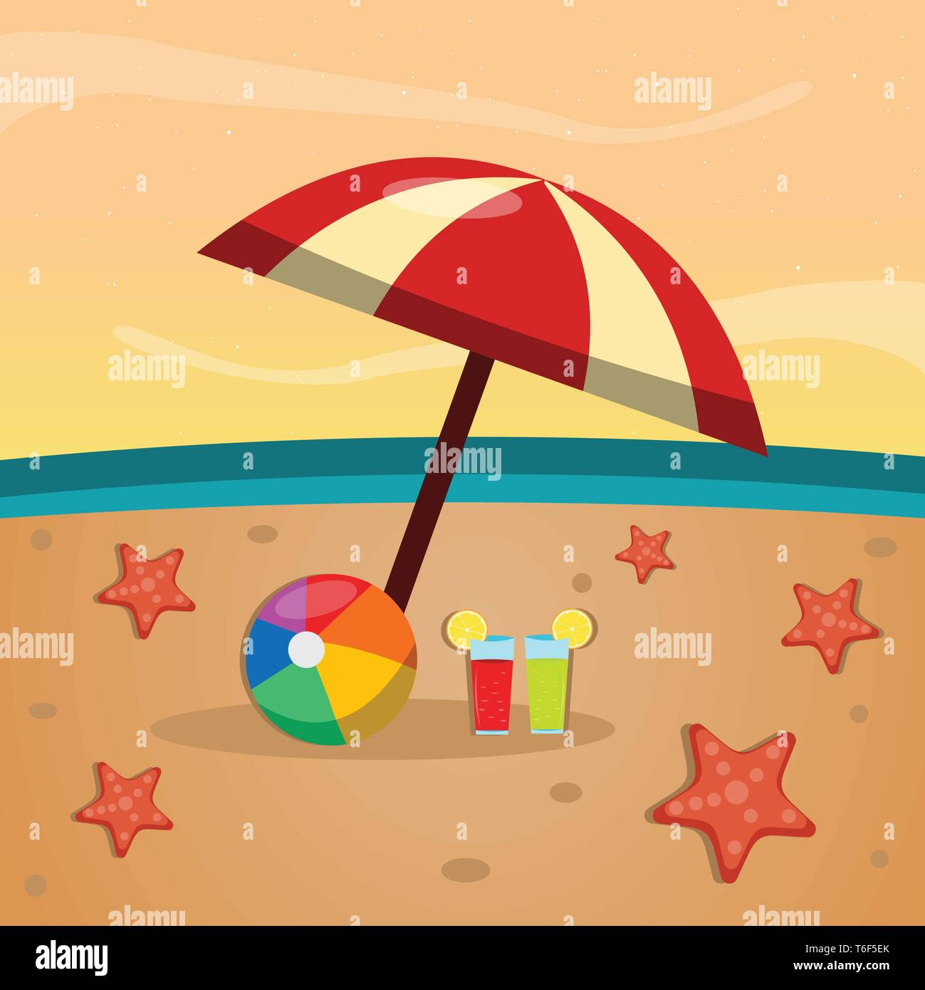 umbrella , juice and starfish on the beach for summer concept vector illustration - Stock Vector