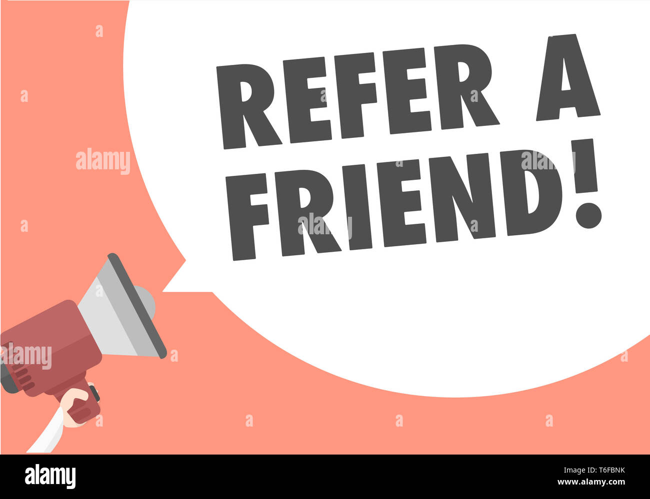 Megaphone Refer A Friend - Stock Image