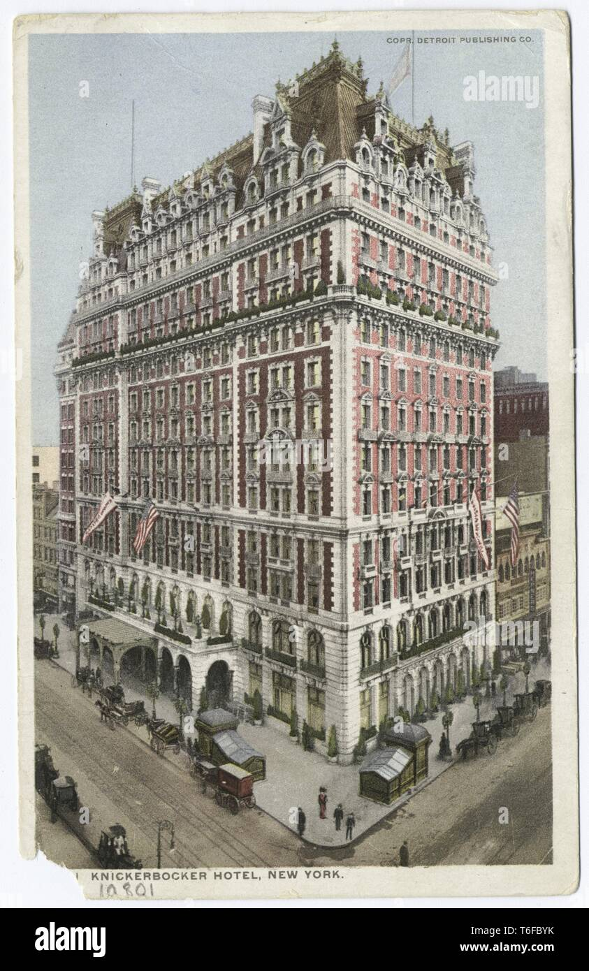 Detroit Publishing Company vintage postcard reproduction of the Knickerbocker Hotel at the corner of Broadway and 42nd Street, Manhattan, New York, 1914. From the New York Public Library. () Stock Photo