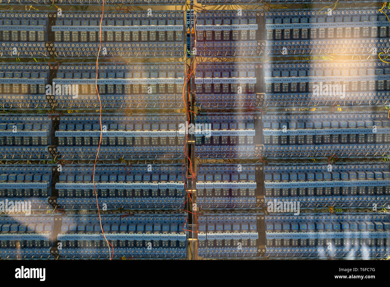 many old blue relays of an vintage computer - Stock Image
