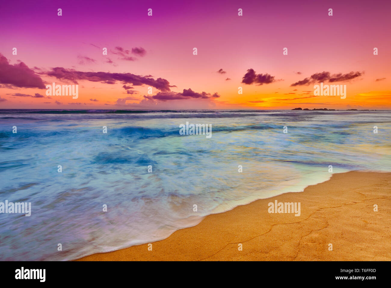 Sunset over the sea. Beautiful landscape Stock Photo
