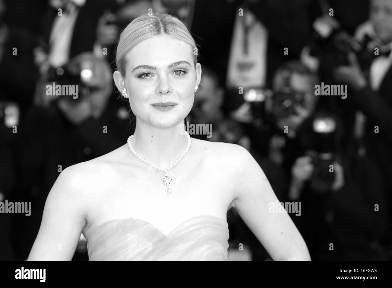 CANNES, FRANCE – MAY 24, 2017: Elle Fanning attends 'The Beguiled' screening at the 70th Cannes Film Festival (Photo: Mickael Chavet) - Stock Image
