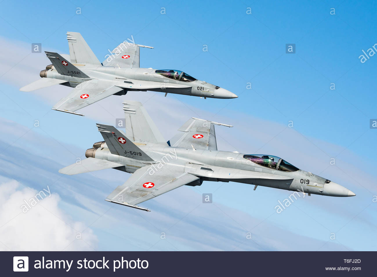 A McDonnell Douglas F/A-18 Hornet twin-engine, supersonic, all-weather, multirole fighter jet of the Swiss Air Force. - Stock Image
