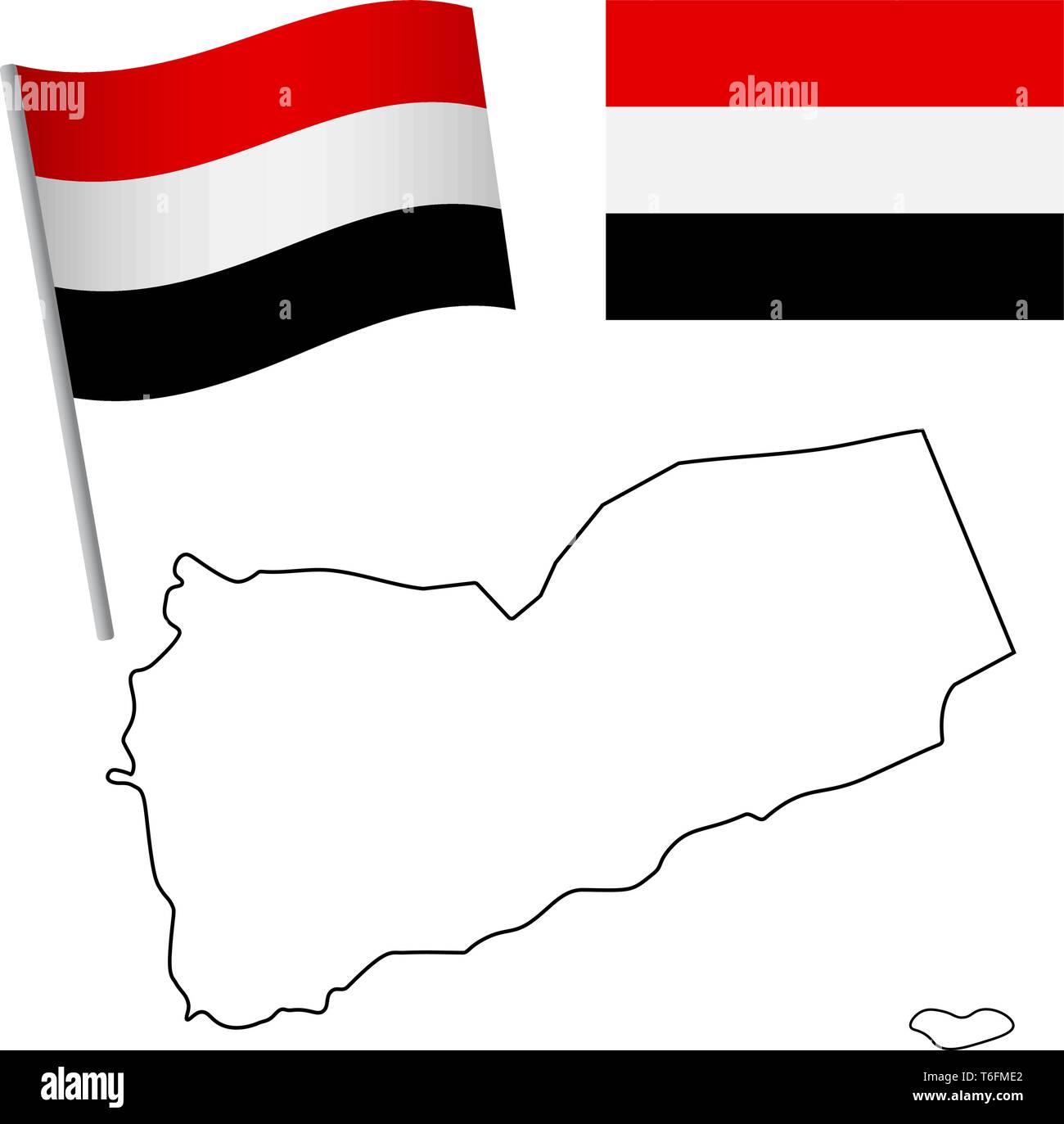 Yemen flag and map. Patriotic background. National flag of Yemen vector illustration - Stock Vector