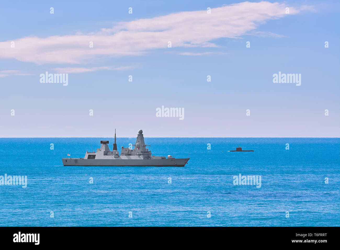 Air-defence Destroyer in the Sea - Stock Image