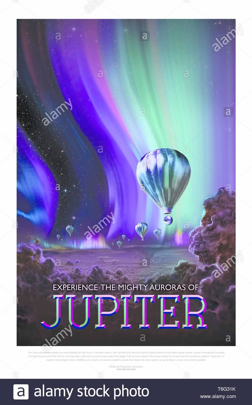 The Studio-Experience the Mighty Auroras of Jupiter - Stock Image