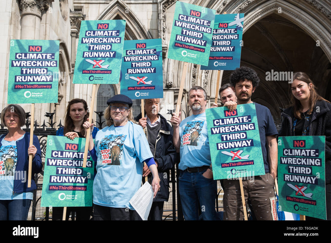 London, UK. 1st May, 2019. Campaigners gather outside the Royal Courts of Justice after the failure of a High Court challenge to the controversial plans to build a third runway at Heathrow airport. Judicial reviews of the Government's decision to approve the plans had been brought by five councils, residents, environmental charities including Greenpeace, Friends of the Earth and Plan B and London Mayor Sadiq Khan. Credit: Mark Kerrison/Alamy Live News - Stock Image