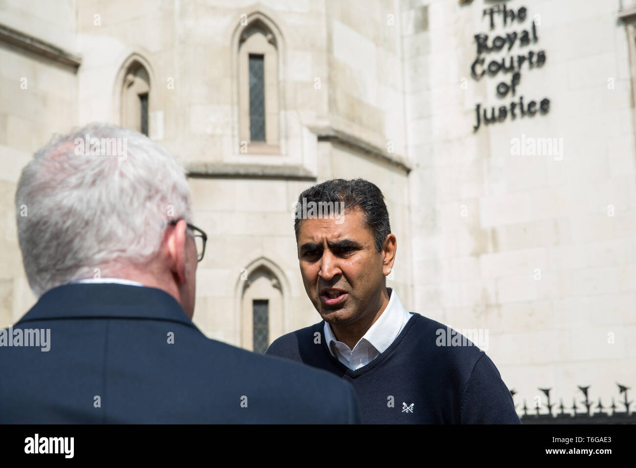 London, UK. 1st May, 2019. Parmjit Dhanda, Executive Director of the Back Heathrow campaign, is interviewed outside the Royal Courts of Justice after the failure of a High Court challenge to the controversial plans to build a third runway at Heathrow airport. Judicial reviews of the Government's decision to approve the plans had been brought by five councils, residents, environmental charities including Greenpeace, Friends of the Earth and Plan B and London Mayor Sadiq Khan. Credit: Mark Kerrison/Alamy Live News - Stock Image