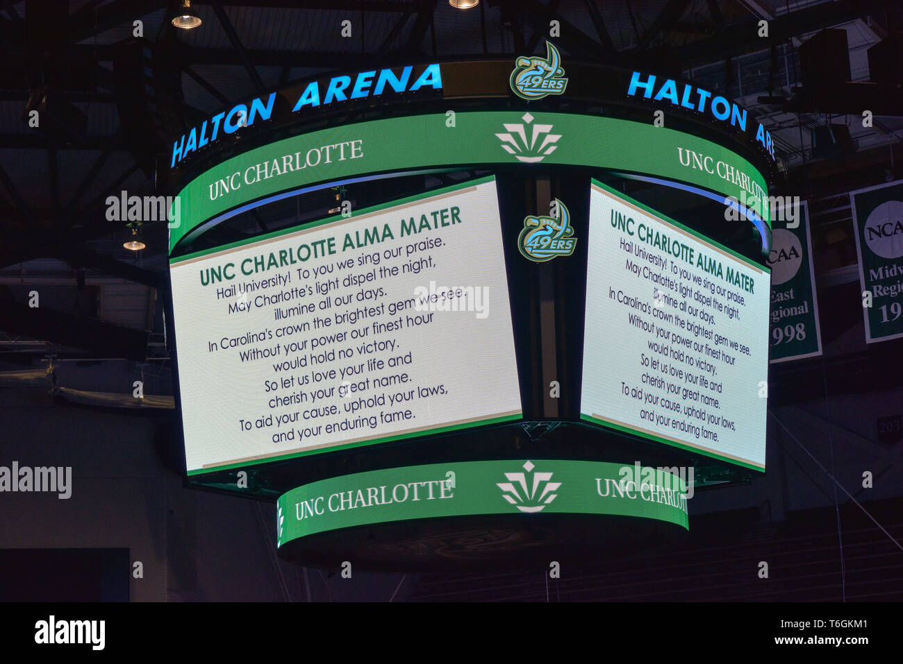 Charlotte, North Carolina, USA. 01st May, 2019. Students, teachers, and community members gather to hold vigil at UNCC in Halton Arena with speakers, music, and the singing of the school alma mater. A mass shooting occurred at the university the prior day adding one more school to the list of school shootings in America in the midst of a gun control controversy. Credit: Castle Light Images/Alamy Live News - Stock Image