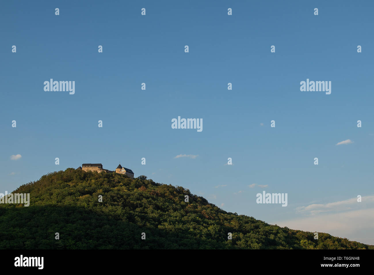 Castle Waldeck in Germany in the evening sun - Stock Image