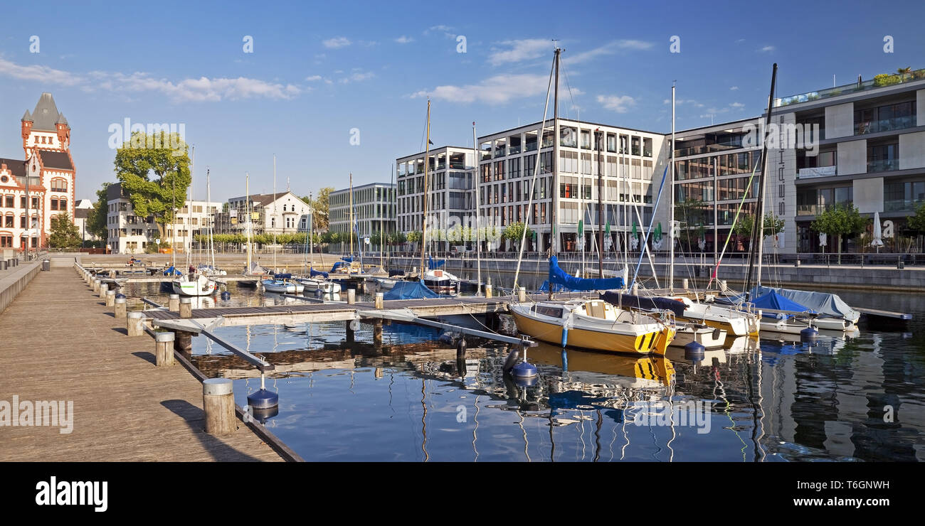 Sailboats and Hoerder Castle at Phoenix Lake, Dortmund, Ruhr Area, Germany, Europe - Stock Image